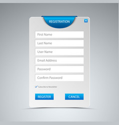 register web screen with blue bookmark template ve vector image