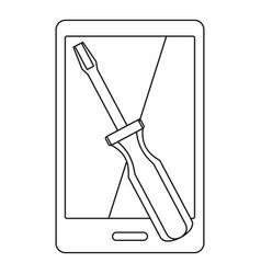 renovation phone icon outline style vector image