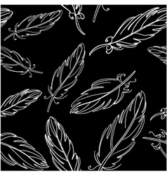 Seamless black pattern with feather vector