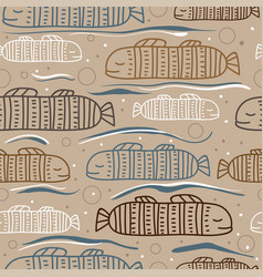 seamless pattern with abstract fish fish white vector image