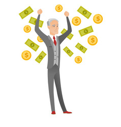 senior caucasian busiessman under money rain vector image