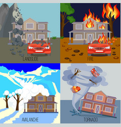 Set of natural disasters banners landslide fire vector