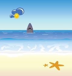 Shark and beach vector