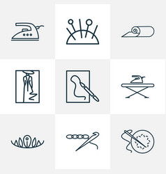 style icons line style set with drawing ironing vector image