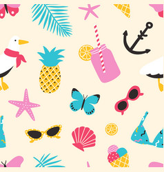 Summertime seamless pattern with exotic fruits vector