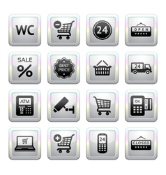 supermarket services shopping icons vector image