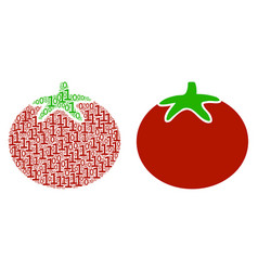 tomato vegetable mosaic of binary digits vector image