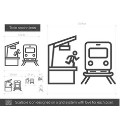 Train station line icon vector