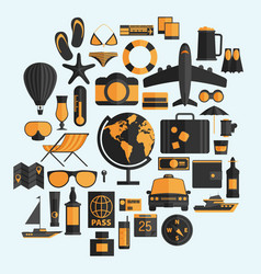travel vacation flat design set concept vector image