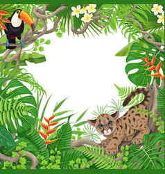 Tropical frame with plants and animals vector