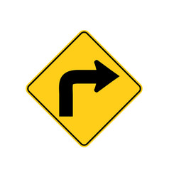 Usa traffic road signs low speed sharp right vector