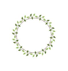 Vintage floral round frames green decorative ivy vector