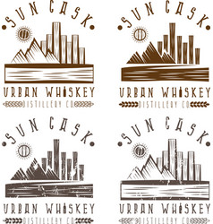 Vintage labels set of urban whiskey vector