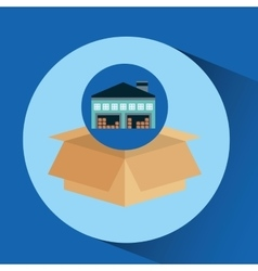 Warehouse building cardboard box vector