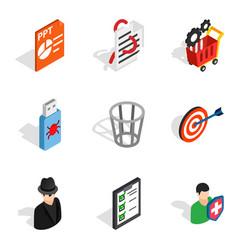 Web designing icons set isometric style vector