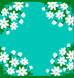 White daisies on a green background vector