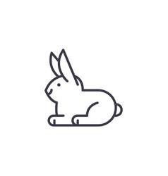 white rabbit line icon sign vector image