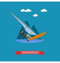 Windsurfer on the board with sail flat design vector