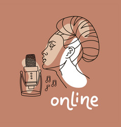 woman with a microphone on a pastel beige vector image