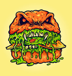 Zombie burger melt vector
