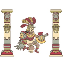 Aztec god between columns colored vector image vector image