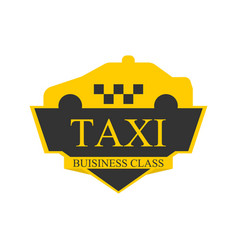 Business class taxi logotype with car on top label vector