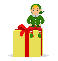 cartoon cute elf sitting on a box with gift vector image