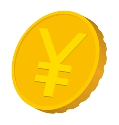 Gold coin with Yen sign icon cartoon style vector image