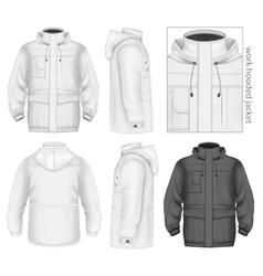 Men work hooded jacket vector image vector image