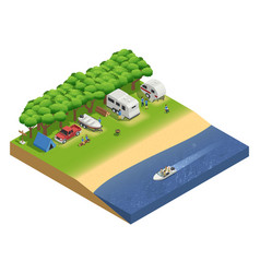 recreational vehicles on beach isometric vector image vector image