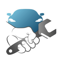 spanner in hand for car repair vector image vector image