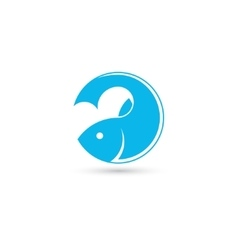 Template of round logo with fish vector image