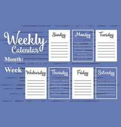 weekly calendar template vector image vector image