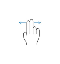 2 finger left and right line icon hand gestures vector