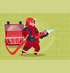 fireman holding hose wearing uniform and helmet vector image vector image