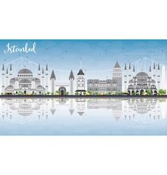 Istanbul Skyline with Gray Landmarks vector image