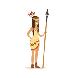 native american indian girl in traditional indian vector image