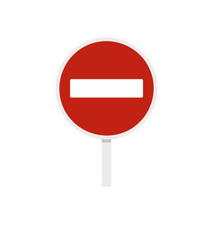 no entry traffic sign icon flat style vector image vector image