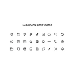 Hand drawn outline web icons set Office vector image