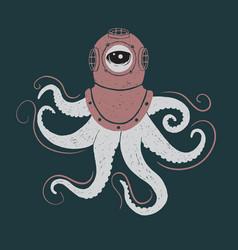 abstract octopus in helmet vector image vector image