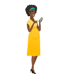 african pregnant woman holding a mobile phone vector image vector image