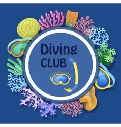 Diving club advertising with round decorative vector image