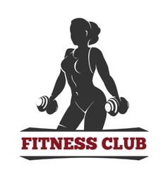 Fitness Club Emblem with Training Woman vector image
