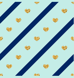 gold hearts line seamless pattern vector image vector image