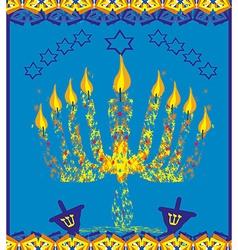 hanukkah menorah abstract card vector image