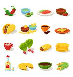mexican food traditional menu icon set vector image vector image