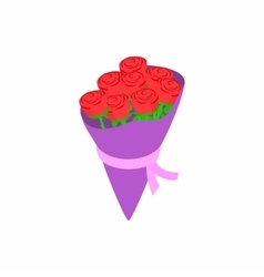 Red roses bouquet icon isometric 3d style vector image