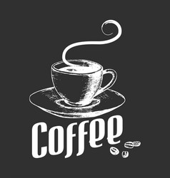 sketch of a cup of coffee in vintage style vector image