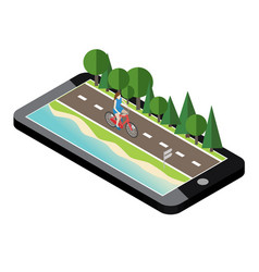 woman on bicycle on the road near the beach and vector image vector image