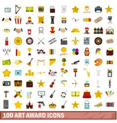 100 art award icons set flat style vector